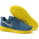 Nike Roshe Run pour Femme Bleu Jaune Argent Mesh Chaussure De Securite