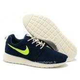 Nike Roshe Run pour Homme Bleu Marine Blanc Vert Roshe Run Junior Vente Privee